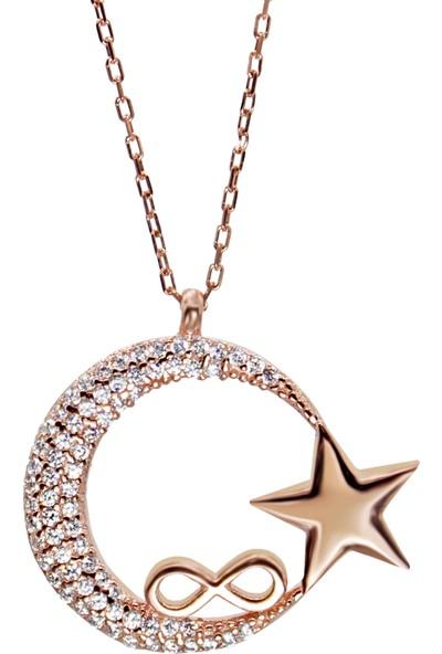 Minamis Silver 925 Ayar Sonsuz Ay Yıldız Bayan Gümüş Kolye