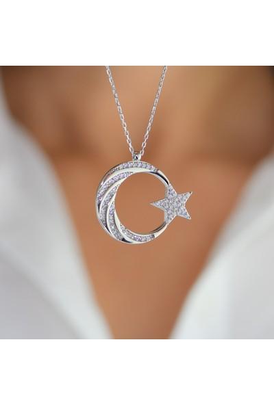 Mygümüş My101800 Burgu Taş İşlemeli Ay Yıldız Gümüş Kolye