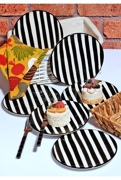 Kitchen World 6'lı lüx El Yapımı Seramik Pasta Tabak Seti