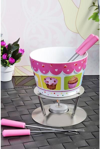 Kitchen World Cup Cake Model Porselen Metal Standlı Fondü Seti
