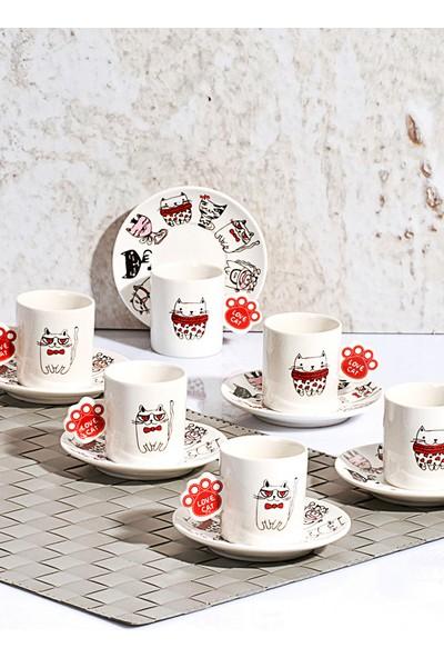 Kitchen World Kedili Desen 6'lı Porselen Kahve Fincan Tk