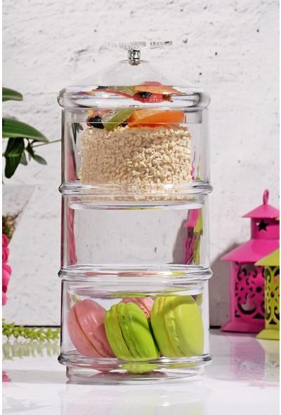 Kitchen World Kelebekli Akrilik lüx 3 Katlı Saklama Kabı