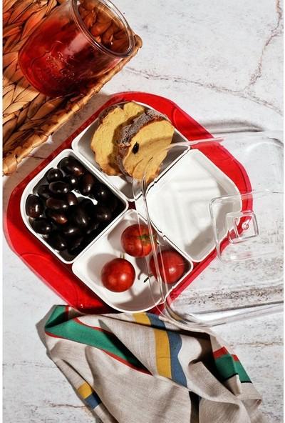 Kitchen World 4 Bölmeli Akrilik lüx Kapaklı Kahvaltı Seti