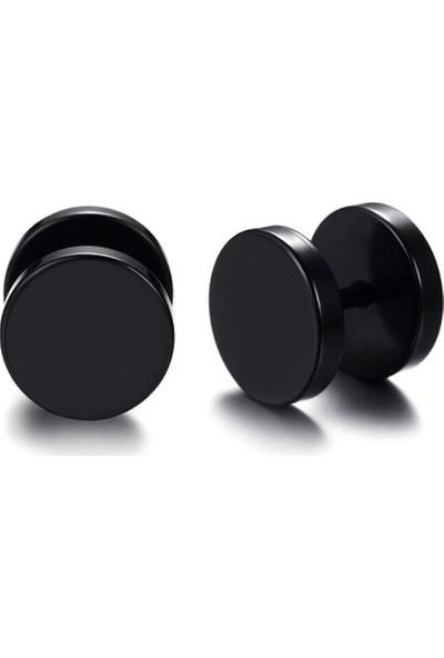 VipBT Siyah Dambıl Paslanmaz Çelik Çift Erkek Küpe 10mm