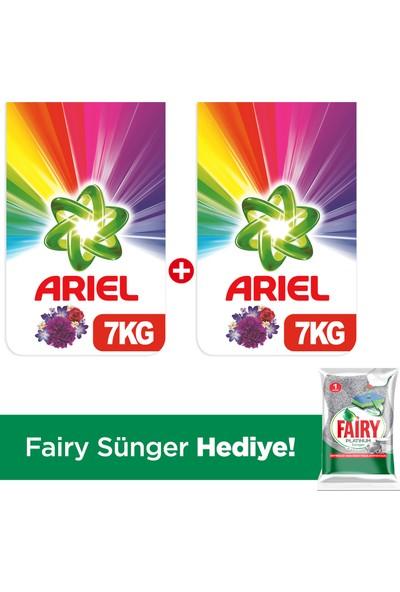 Ariel Toz Çamaşır Deterjanı Mor Çiçekler 7 kg +7 kg + Fairy Platinum Sünger Hediye