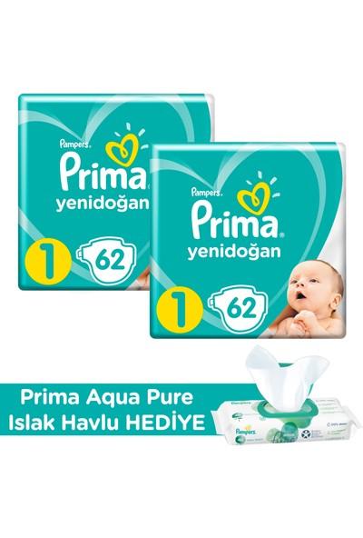 Prima Bebek Bezi Yeni Bebek 1 Beden 124 Adet Yenidoğan İkiz Plus Paket + Prima Aqua Pure Islak Havlu