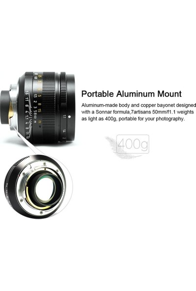 Artisans 50MM F1.1 Fixed Lens (Leica M-Mount) Siyah