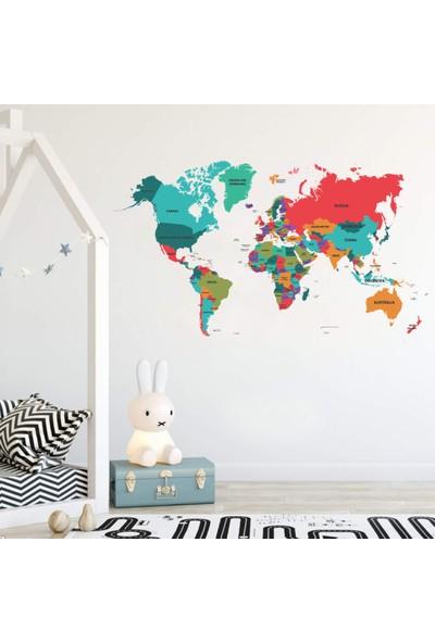 Areksan Reklam Renkli Dünya Ülkerler Haritası Çocuk Odası Dekoratif Duvar Sticker