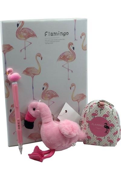 Flamingo Defter + Anahtarlık + Cüzdan + 0.7 Uçlu Kalem Seti