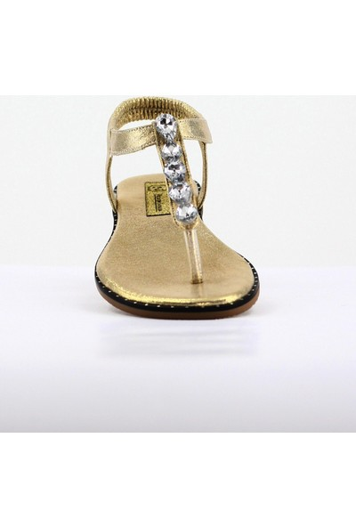 Nellson Jackson Luceat Gold Kadın Yazlık Deri Taşlı Parmak Arası Sandalet