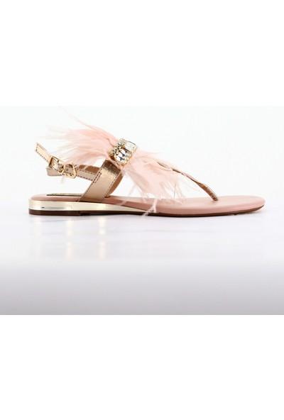 Nellson Jackson Pinkley Pembe Kadın Yazlık Deri Taşlı Tüylü Parmak Arası Sandalet
