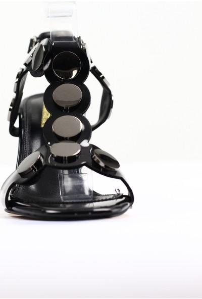 Nellson Jackson Polka Siyah Yüksek Topuk Pullu Bantlı Kadın Abiye Ayakkabı