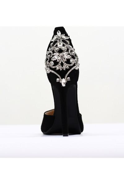 Nellson Jackson Regina Siyah Yüksek Topuk Taşlı Stylish Bantlı Kadın Abiye Ayakkabı