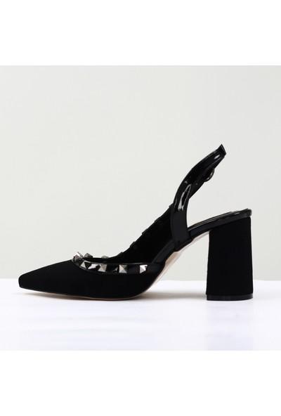 Nellson Jackson Vim Siyah Süet Yüksek Topuk Taşlı Stylish Bantlı Kadın Abiye Ayakkabı