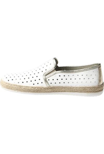 Hammer Jack Beyaz Analin-Altın Dana Kadın Ayakkabı 236 4022-Z