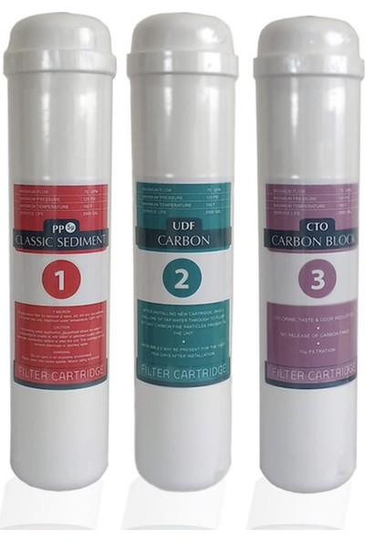 Su Arıtma Cihazı Filtresi 3 Lü Filtre Takımı Iki Karbon
