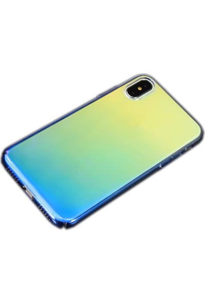 Antdesign Apple iPhone X/XS Colorfull Seri Transparan Silikon Kılıf Mavi