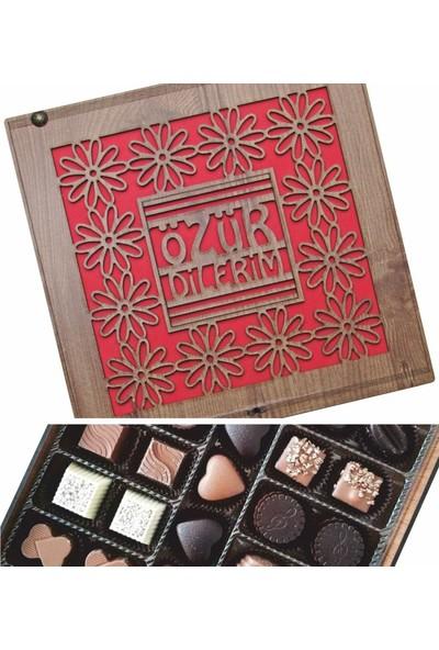 Çikolata Marketi Özür Dilerim Yazılı Hediyelik Ahşap Kutulu Spesiyal Çikolata