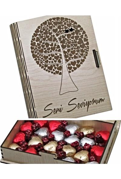Çikolata Marketi Seni Seviyorum Yazılı, Kalp Ağaçlı, Ahşap Kitap Kutulu Hediyelik Antep Fıstıklı, Kalpli, Sütlü Çikolata