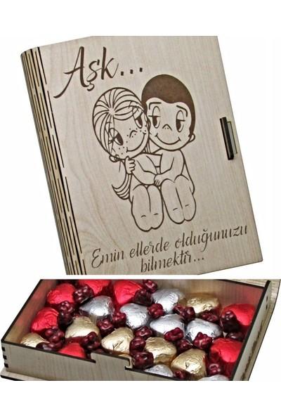 Çikolata Marketi Aşk Emin Ellerde Olduğunuzu Bilmektir Yazılı, Ahşap Kitap Kutulu Hediyelik Antep Fıstıklı, Kalpli, Sütlü Çikolata