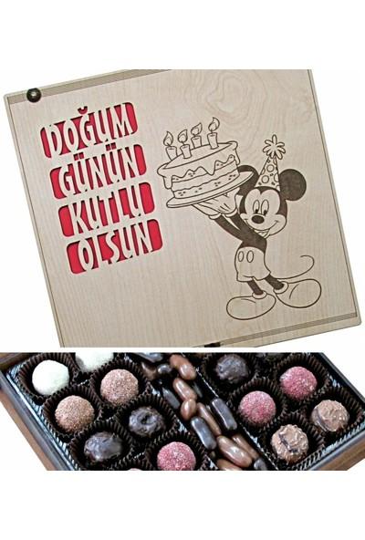 Çikolata Marketi Doğum Günün Kutlu Olsun Yazılı Ahşap Kutulu Hediyelik Doğum Günü Çikolatası