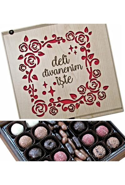 Çikolata Marketi Deli Divanenim Yazılı Çiçeklerle Süslenmiş Ahşap Kutulu Hediyelik Çikolata
