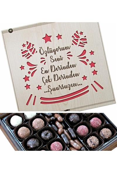 Çikolata Marketi Özlüyorum Seni En Derinden Çok Derinden Şuursuzca... Yazılı Ahşap Kutulu Hediyelik Çikolata