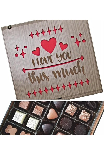 Çikolata Marketi I Love You This Much Yazılı Ahşap Kutulu Hediye Çikolata