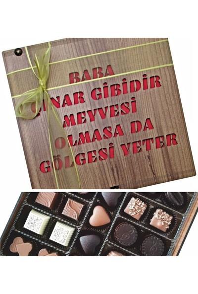 Çikolata Marketi Baba Çınar Gibidir, Meyvesi Olmasa Da Gölgesi Yeter Yazılı Babaya Özel Ahşap Kutulu Hediye Çikolata