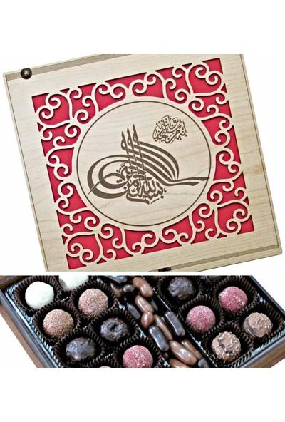 Çikolata Marketi Osmanlı Tuğralı Ahşap Kutulu Hediye Çikolata