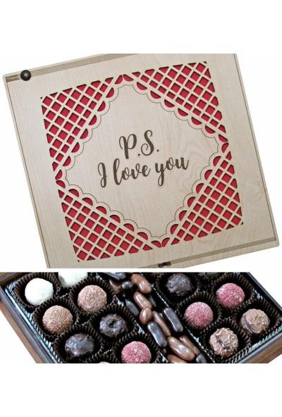 Çikolata Marketi P.s. I Love You Yazılı Ahşap Kutulu Sevgiliye Hediye Çikolata