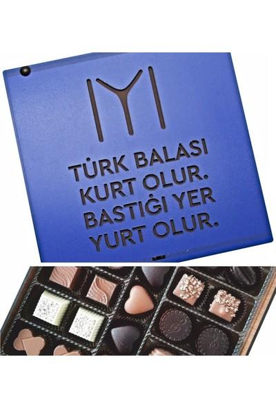 Çikolata Marketi Türk Balası Kurt Olur Bastığı Yer Yurt Olur Yazılı Kayı Boyu Bayraklı Ahşap Kutulu Hediyelik Çikolata