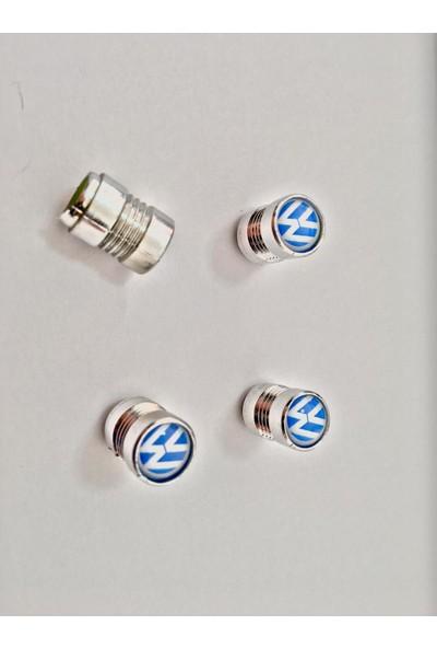 Eng Aksesuar Volkswagen Krom Kaplama Sibop Kapağı Vw Amblemli Lüks Sibop Kapağı Mavi