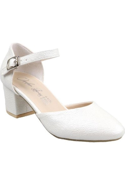 Sema Kız Çocuk(31-36) Topuklu Beyaz Abiye Ayakkabı