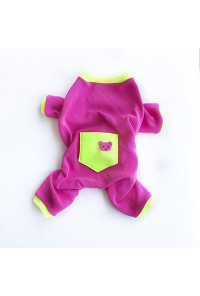 Kemique Pink Teddy Penye Tulum Kedi Tulumu Kedi Elbisesi
