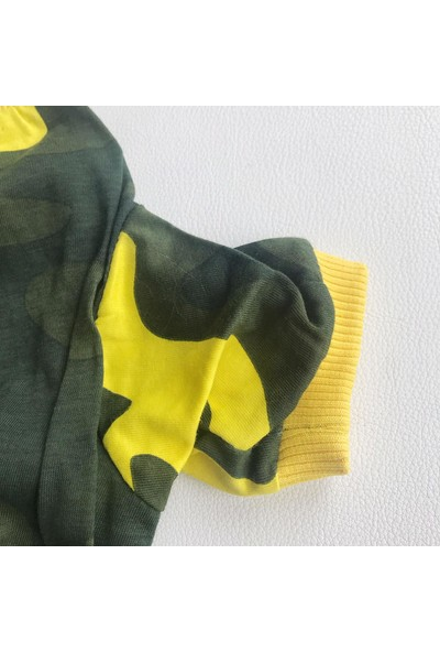 Kemique Yellow Camouflage Penye Tulum Kedi Tulumu Kedi Elbisesi