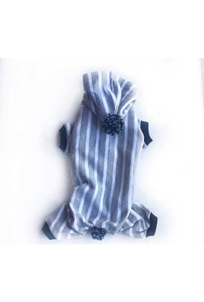 Kemique Pon Pon Light Grey Stripe Grey Tulum Köpek Kiyafeti
