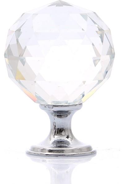 Enfute Kristal Cam Düğme Çekmece Kulp Renk Krom 30 mm