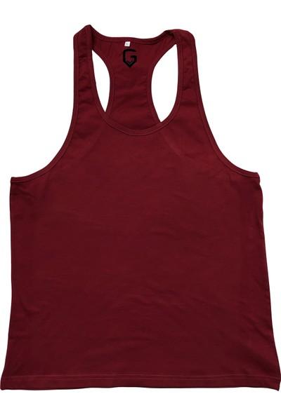 Top Glory Fitness Gym Tank Top Atlet Sporcu Atleti Bordo 5028