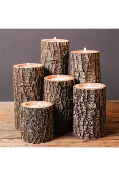Qtük Ağaç 6lı Mumluk Asorti Ölçüler