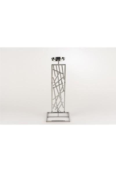 Mikasa Moor Gümüş Geometrik Desenli Mumluk 14 x 37 cm