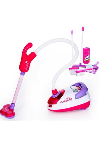 Can-Em Oyuncak Temizlik Seti Ve Elektrik Süpürgesi Izgaralı Pembe