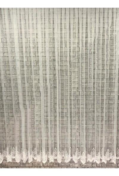 Caserta Home HVZ-2425 Pilesiz Etek Nakışlı Grek Düz Tül Perde - 75 x 150 cm