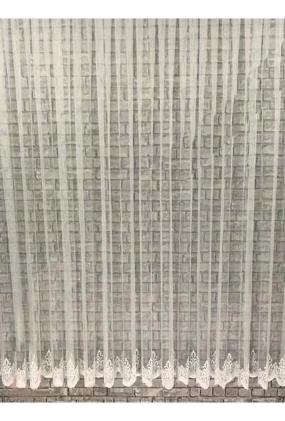 Caserta Home 1/2,5 Orta Pileli HVZ-2425 Etek Nakışlı Grek Düz Tül Perde - 75 x 150 cm