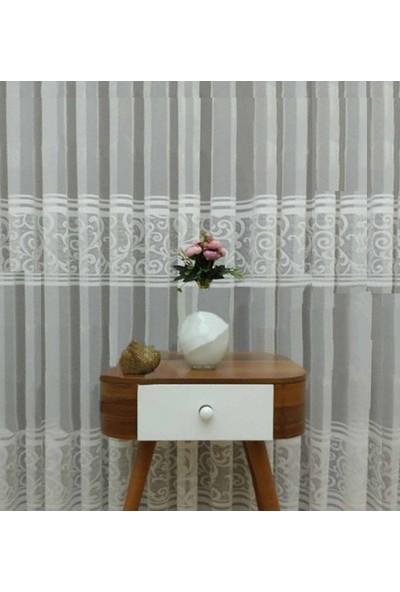 Caserta Home Piazo Beyaz Pilesiz Ara Kortlu Şal Desenli Düz Tül Perde - 75 x 150 cm