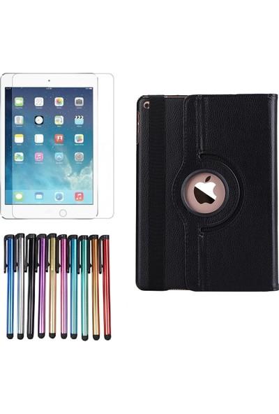 EssLeena Apple Powers Kılıf Seti iPad 6.Nesil (2018) 9.7 İnç (A1893/A1954) 360 Derece Dönebilen Tablet Kılıfı+9H Koruyucu Cam+Kalem Siyah