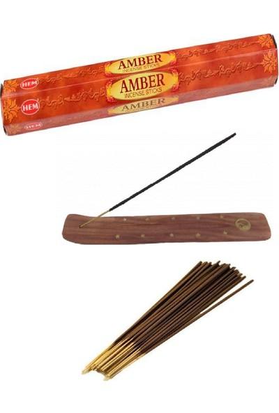 Piramigo Amber Kokusu 20 Adet Tütsü Çubuğu ve Pati Tütsü Kızağı