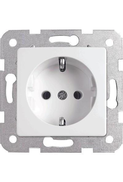 Viko Karre Meridian Topraklı Priz Mekanizması + Kapak Beyaz Çerçevesiz