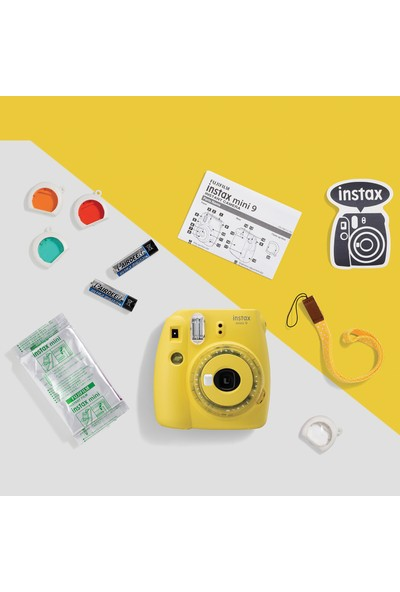 Fujifilm Instax Mini 9 Sarı Fotoğraf Makinesi & 20'li Film