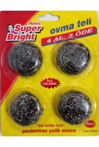 Süper Bright Bulaşık Teli Ovma Teli 4' lü 2306-4